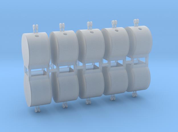 Altglascontainer Trommel 10erSet 1:87 H0 in Smooth Fine Detail Plastic