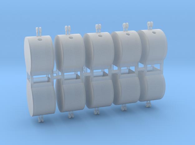 Altglascontainer Trommel 10erSet 1:72 in Smooth Fine Detail Plastic