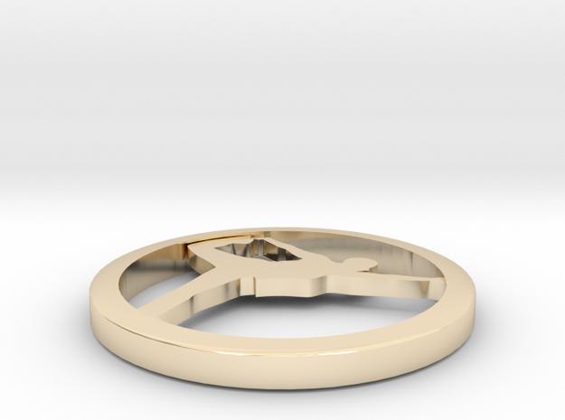 "Yoga jewelry earring approx.  1"" 1 hoop in 14k Gold Plated Brass"