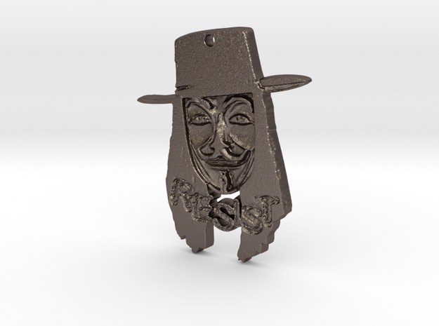 Guy Fawkes Today Pendant in Polished Bronzed Silver Steel