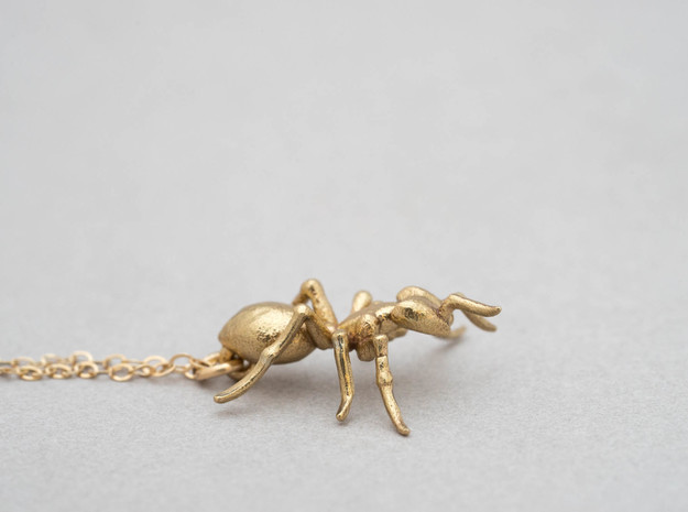Ant Pendant in Natural Brass