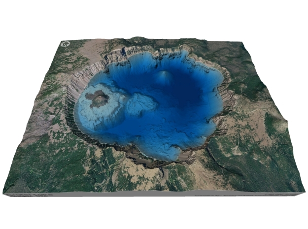Crater Lake Bathymetry Map in Coated Full Color Sandstone
