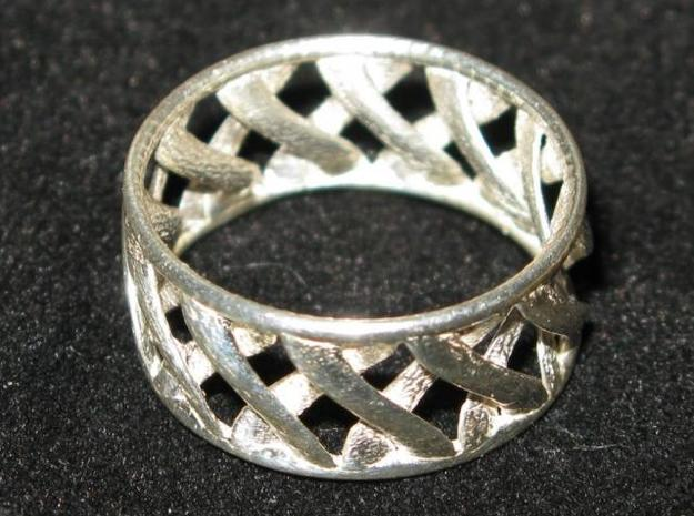 Link Ring 3d printed Silver Glossy