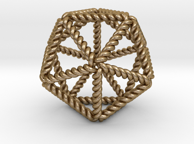 """Twisted Icosahedron RH 2"""" in Polished Gold Steel"""