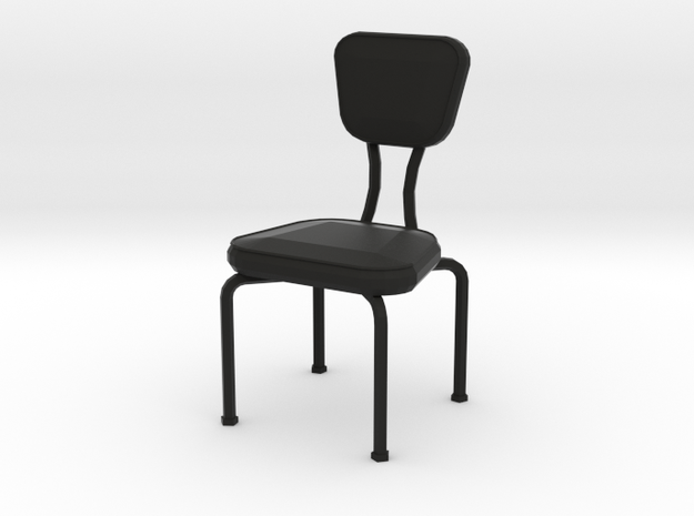 'Retro Living' Dining Chair 1:12 Dollhouse in Black Strong & Flexible