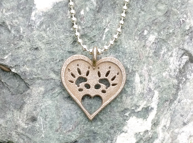 Rat Foot Print Heart Pendant in Polished Bronzed Silver Steel