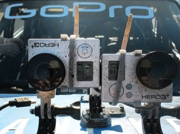 GoPro HERO 3+ 3D System: Wider Lens Separation  3d printed After 15 hours of racing (Zip-ties optional)