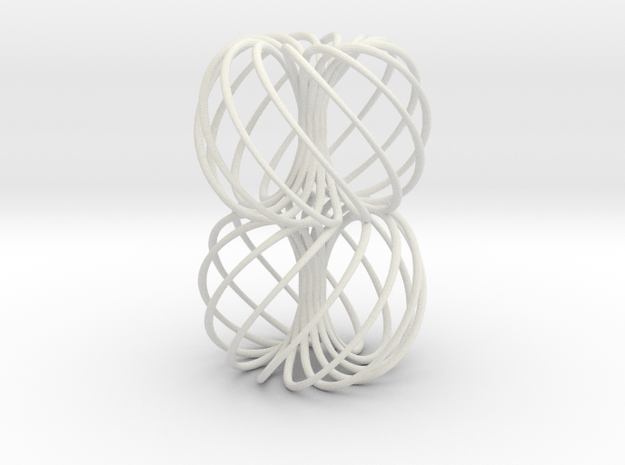 Double Spiral Torus 7/12, golden ratio in White Natural Versatile Plastic