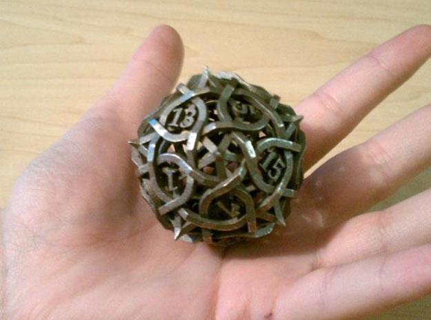 DoubleSize Thorn Die20 3d printed In stainless steel.
