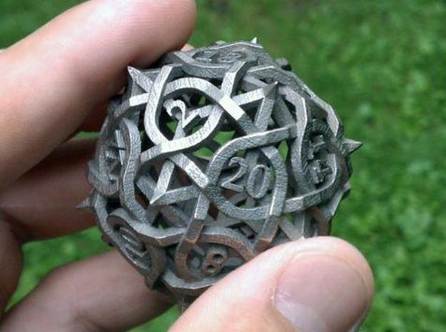 DoubleSize Thorn Die20 in Polished Bronzed Silver Steel