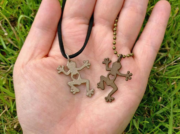 Tree frog pendant in Polished Bronzed Silver Steel