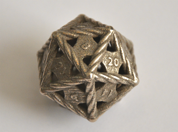 D20 Balanced - Rope in Polished Bronzed Silver Steel