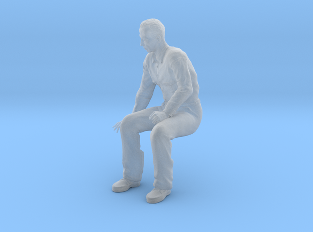 NG Fred sitting on bench looking down in Smooth Fine Detail Plastic