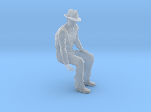 NG Fred sitting on bench wearing hat in Smooth Fine Detail Plastic