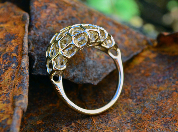 Ring Voronoi Volume II in Polished Brass