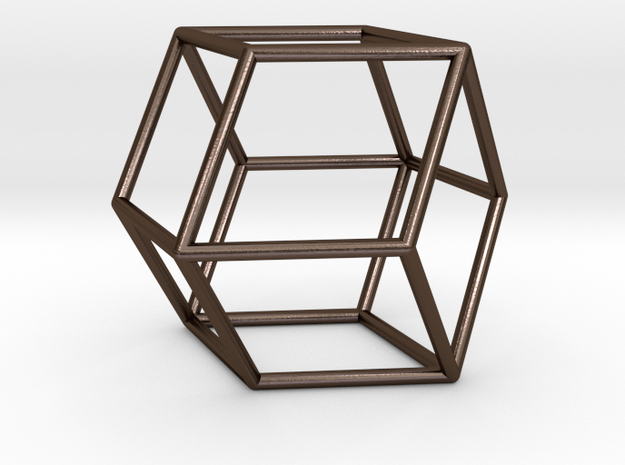 Rhombic Dodeahedron in Polished Bronze Steel