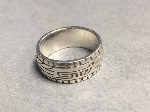 Subaru STI ring  - 16.5 mm (US size 6) in Natural Silver