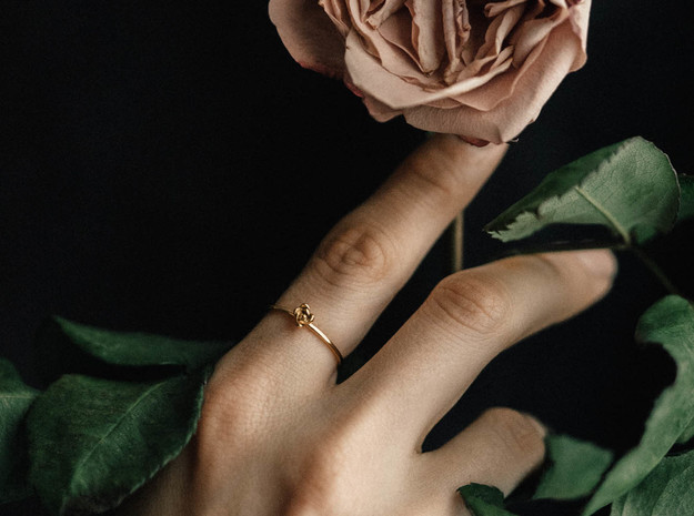 Petite Succulent Ring in Polished Brass: 5 / 49