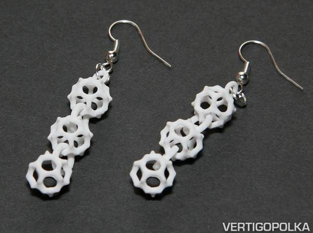 Gyroid Earrings in White Strong & Flexible