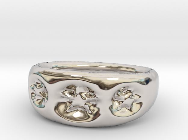 3 Star Ring sz8 in Rhodium Plated Brass