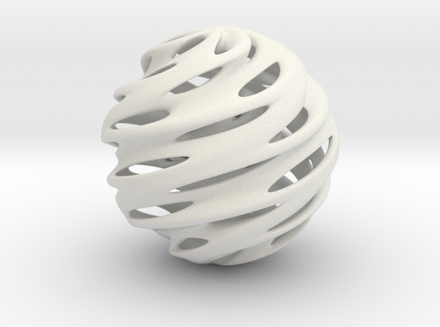 Warp Orb in White Natural Versatile Plastic