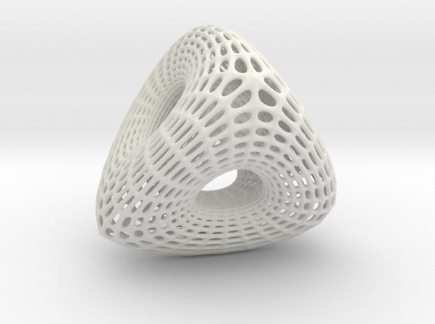 Voronoi Tri Ballrace in White Natural Versatile Plastic: Small