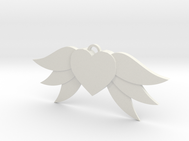 Heart With Wings in White Natural Versatile Plastic