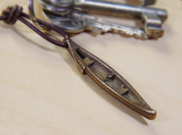 Canoe - Pendant/Keychain + Maple Leaf + your text in Polished Bronze Steel