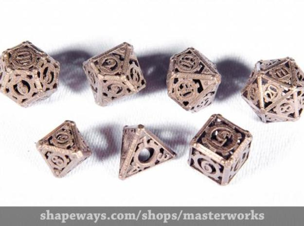 Steampunk Dice Set 3d printed Antique Bronze Gloss