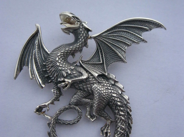 Whitby wyrm dragon pendant in Natural Silver