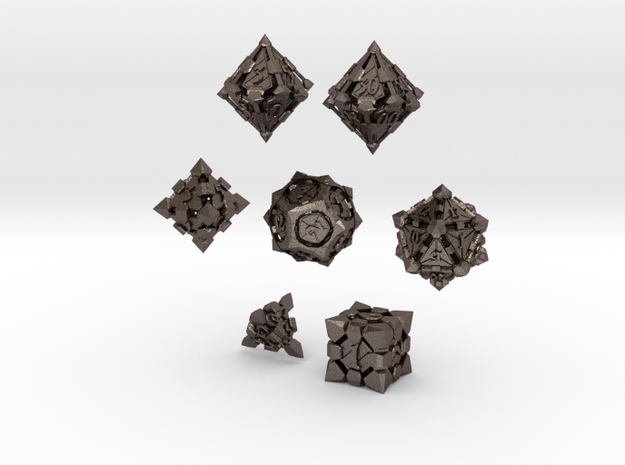 Fortress Dice Set in Polished Bronzed Silver Steel