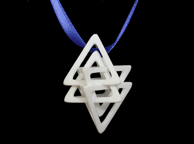 Dual Tetrahedron Pendant in White Strong & Flexible Polished