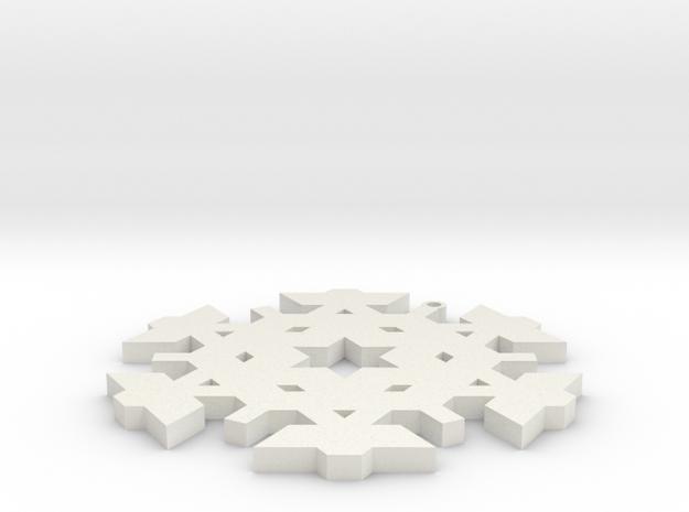 Christmas Snowflake Ornament_3 in White Natural Versatile Plastic