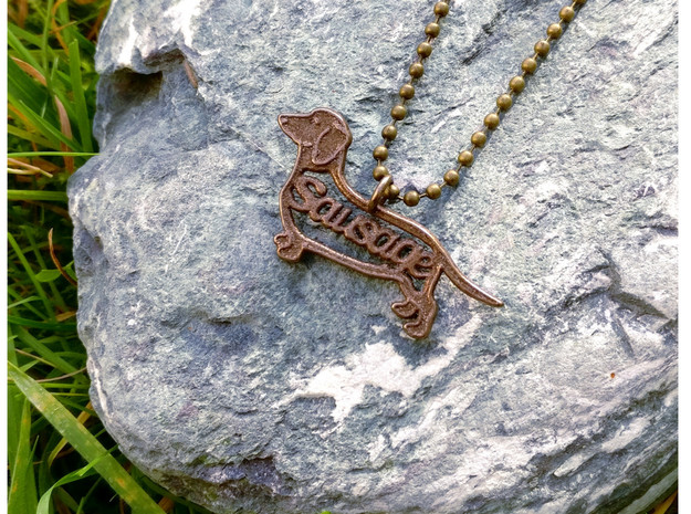 Sausage Dog Pendant or keychain in Polished Bronze Steel
