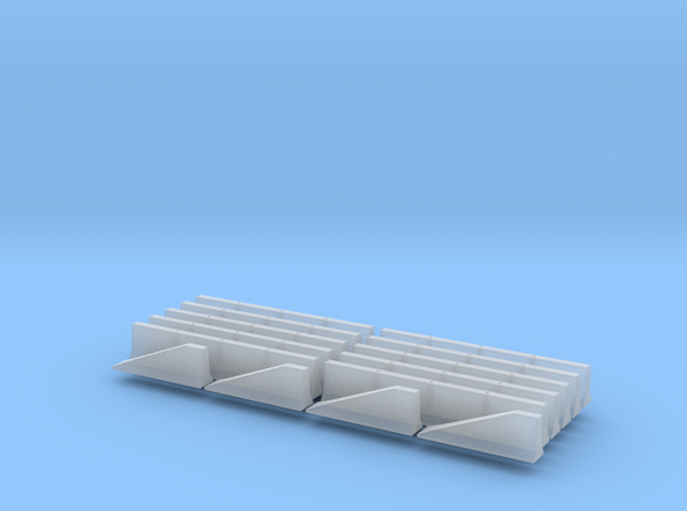 N Scale Jersey Barrier 10 each 20ft in Smooth Fine Detail Plastic