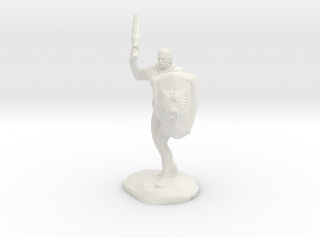 Barbarian with Sword and Bear Shield in White Natural Versatile Plastic