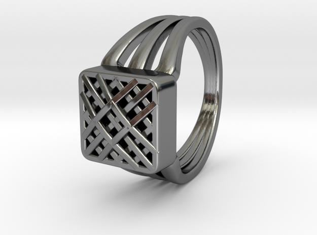Grid Pattern 45Deg Triple Ring (002) in Fine Detail Polished Silver