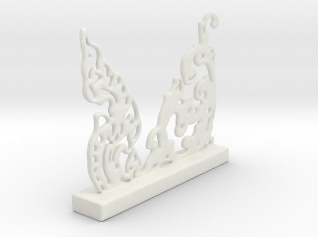 Freeform Oriental Pattern in White Natural Versatile Plastic