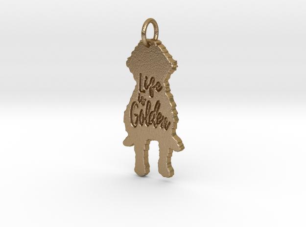 Goldendoodle Pendant - Life is Golden in Polished Gold Steel
