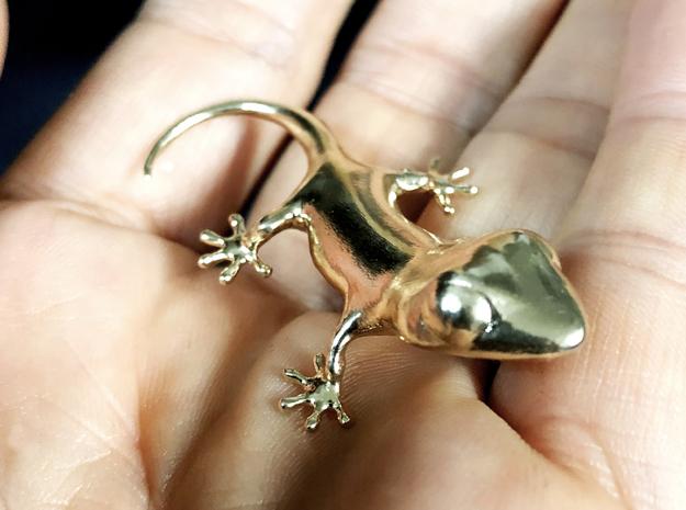 Gecko pendant in Raw Brass: Small