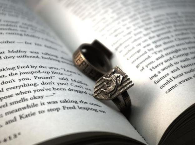 Hufflepuff Ring Size 8 in Polished Bronzed Silver Steel