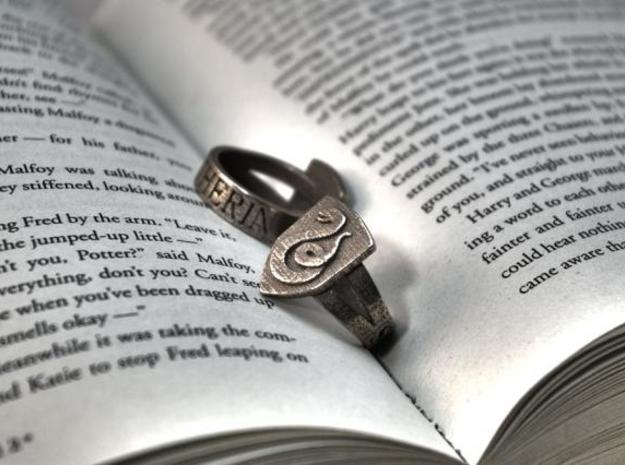 Slytherin Ring Size 4 in Polished Bronzed Silver Steel