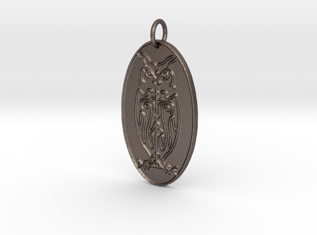 Owl Veve Pendant in Polished Bronzed Silver Steel