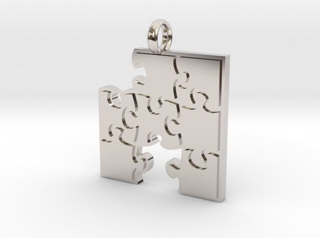 Puzzle  [pendant] in Rhodium Plated