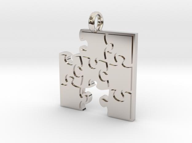 Puzzle  [pendant] in Rhodium Plated