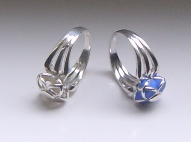 3-2 Enneper Curve Triple Ring (002) in Fine Detail Polished Silver