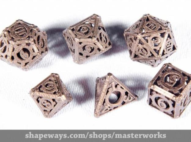 Steampunk Dice Set noD00 3d printed Antique Bronze Gloss