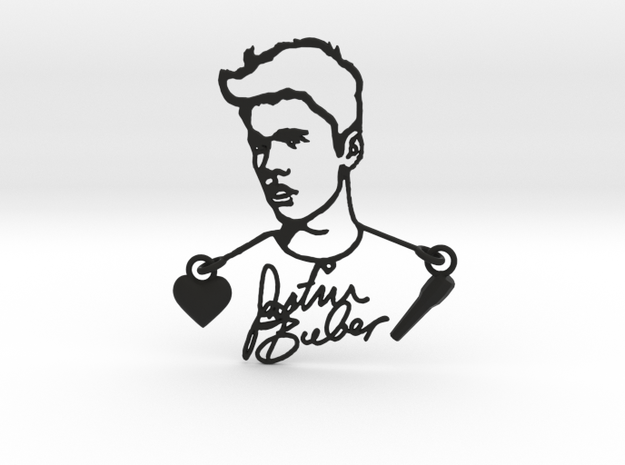 Justin Bieber Fan Pendant in Black Natural Versatile Plastic