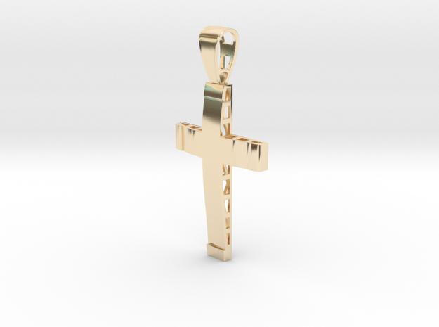 Christian cross in 14k Gold Plated Brass