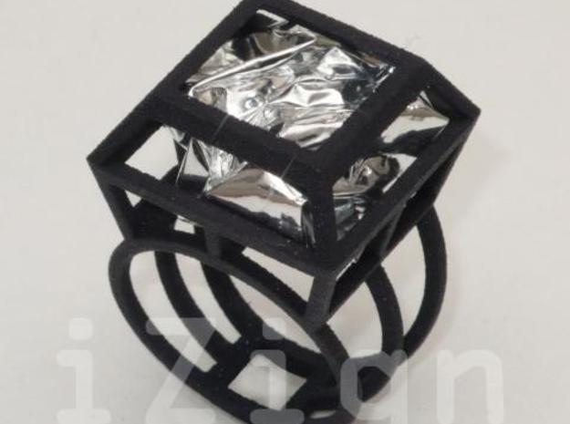ring06 18 3d printed Black Strong & Flexible dressed up with a silver wrapper (not included)
